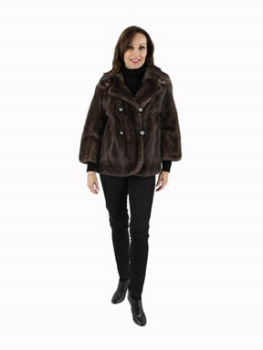Blue Iris Mink Short Jacket