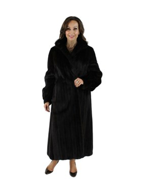 Black Glama Female Ranch Mink Fur Coat