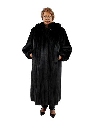 Woman's Plus Size Female Ranch Mink Fur Coat with Detachable Fox Trimmed Hood