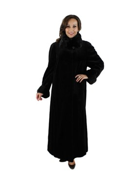 Black Sheareed Mink Coat with Traditional Mink