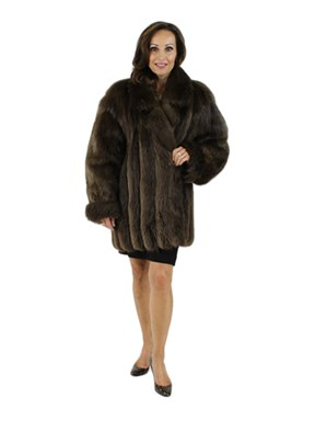 Long Hair Beaver Fur Jacket