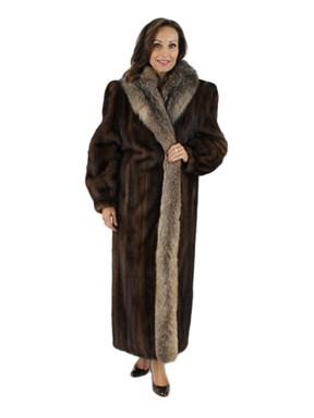 Mahogany Mink Coat with Crystal Fox Tuxedo