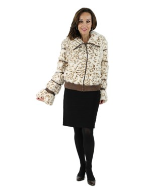 Animal Print Mink Jacket with Hood