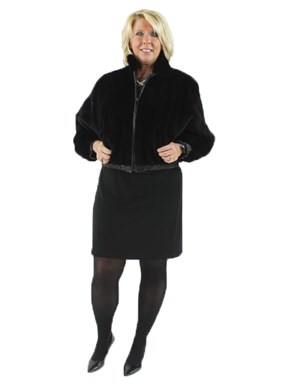 Black Sheared Mink Jacket Reversible to Leather