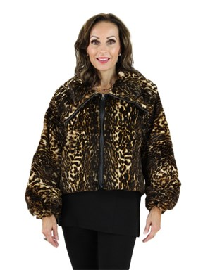 New woman's Leopard Print Sheared Rabbit Fabric Jacket