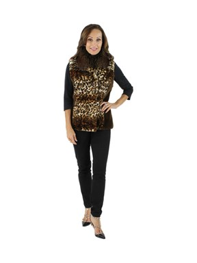 Animal Print Sheared Mink & Fox Vest