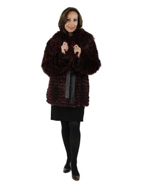 Raspberry Feathered Fox Parka