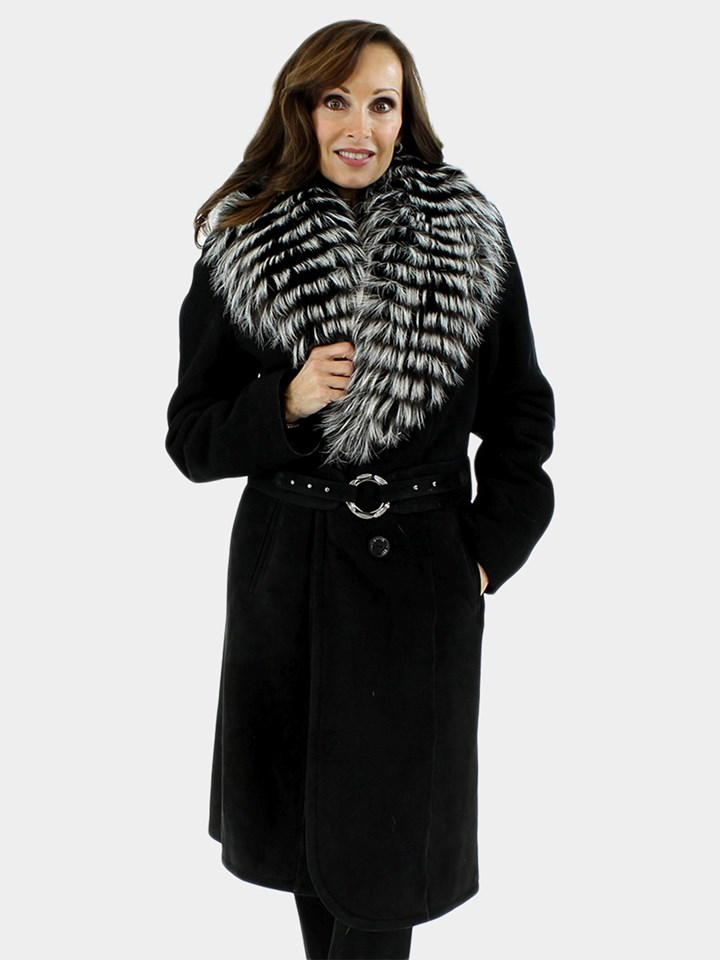 New Woman's Black Shearling Lamb with Silver Fox Trim