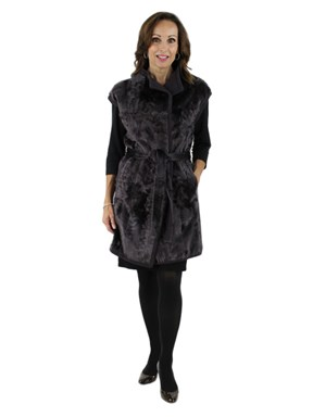 Plum Lamb Fur Vest, Reversible to Cashmere