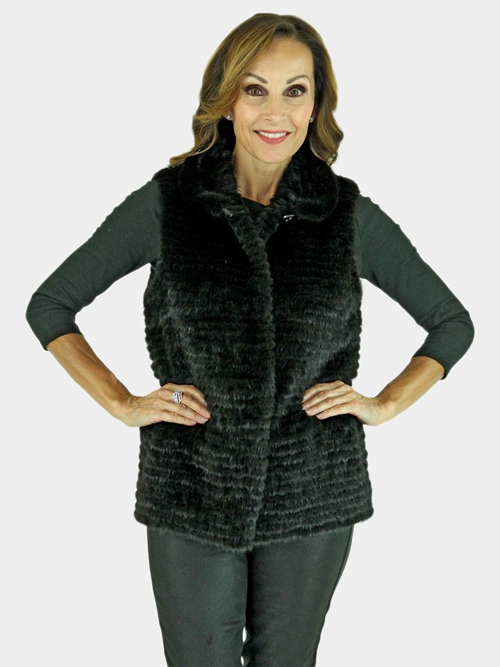 New Gorski Woman's Black Mink Fur Vest