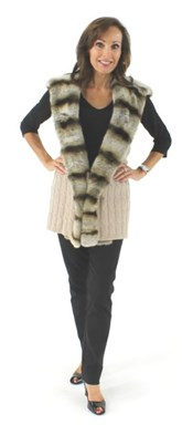 New Woman's Oatmeal Cashmere Wool and Rex Rabbit Fur Vest