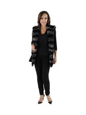 New Woman's Black Cashmere Wool and Rex Rabbit Fur Vest