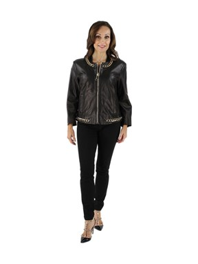 NEW Woman's Black Leather Jacket