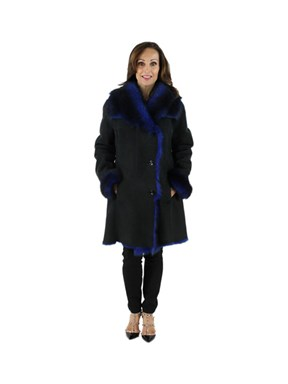 NEW Woman's Magnet Blue Shearling Lamb Jacket