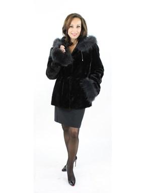 NEW Woman's Black Mink Section Fur Parka