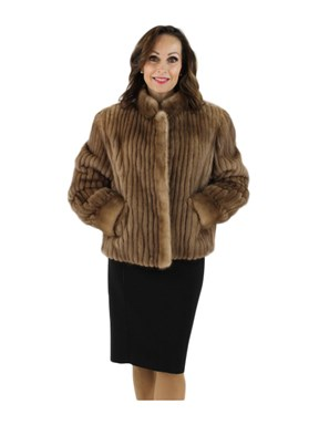Autumn Haze Cord Cut Mink Jacket