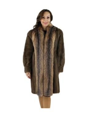 Lunaraine Mink Coat with Crystal Fox Tuxedo Front