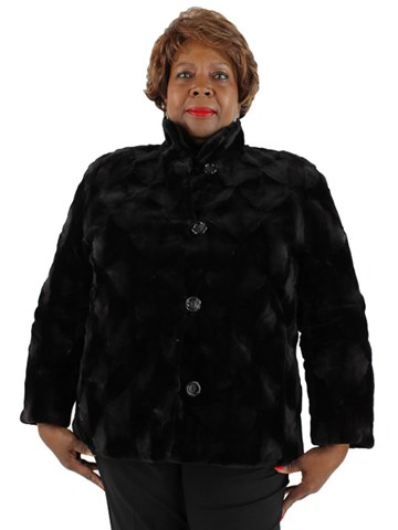 Black Sheared Mink Jacket Reversible to Rain Fabric