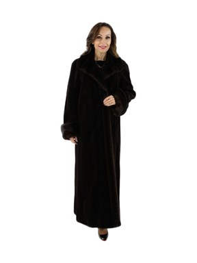 Brown Sheared Mink Coat with Traditional Mink Trim