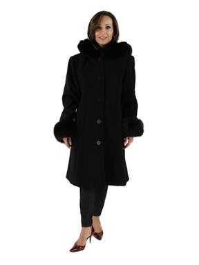 Black Wool Coat with  with Black Fox Trimmed Hood
