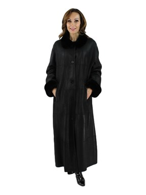 Christ Black Shearling Coat with Sheared Nutria Trim