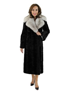 Ranch Mink Section Coat with Large Blue Fox Collar