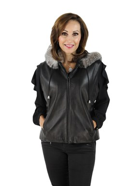 Black Lambskin Leather Vest with Fox Trimmed Hood