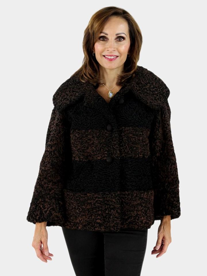Brown and Black Persian Lamb Fur Jacket