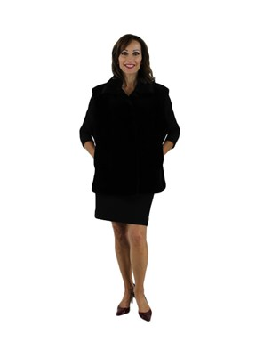 Plus Size Black Sheared Beaver Vest