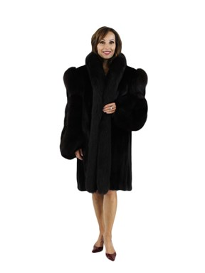 Ranch Female Mink Coat with Fox Tuxedo and Sleeves