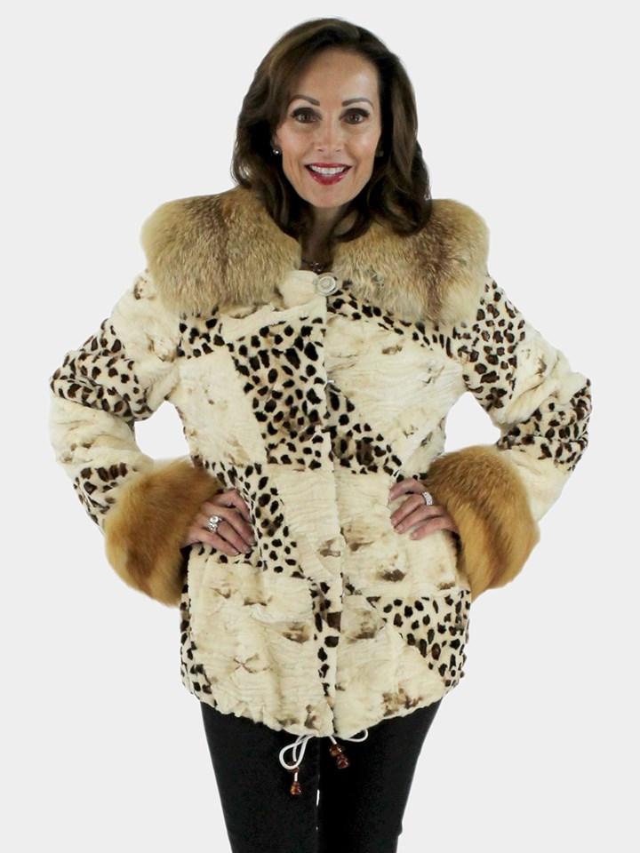 Animal Print Sheared Mink Jacket
