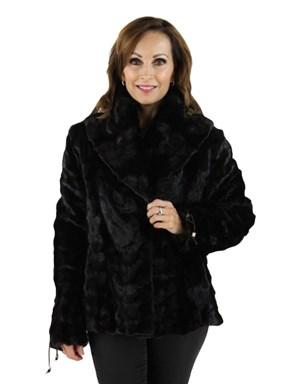 Black Sculptured Mink Fur Jacket