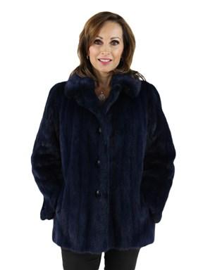 Woman's Dark Royal Blue Mink Fur Jacket