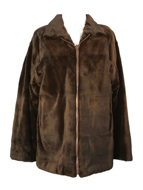 Brown Sheared Mink Jacket Reversible to Taffeta
