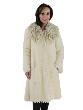 Cream Knit Mink Coat with Fox Collar