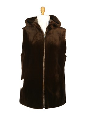 Sheared Mink Vest with Hood