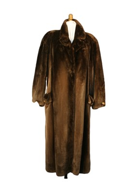 Brown Sheared Beaver Fur Coat