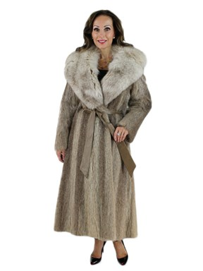 Nutria Fur Coat with Large Fox Collar