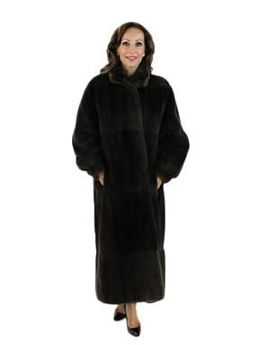 Brown Sheared Nutria Coat Reversible to Rain Coat