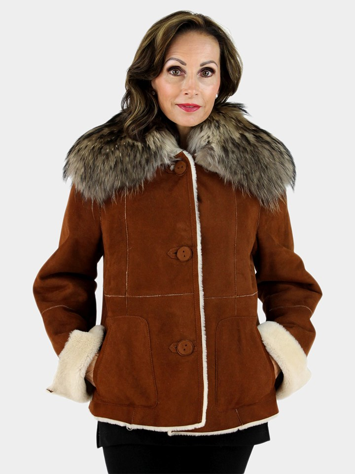 Christia Rust Suede Shearling Lamb Jacket