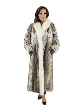 Cat Lynx Fur Coat with Shadow Fox Tuxedo