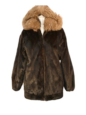 Mahogany Mink Fur Parka with Fox Hood