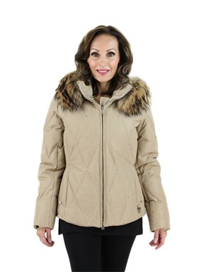 New Woman's Camel Fabric Parka with Finn Racoon