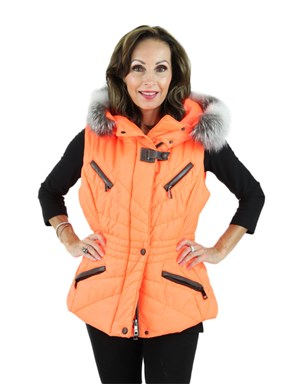 Fluo Arancia Fabric Vest with Fox Trim