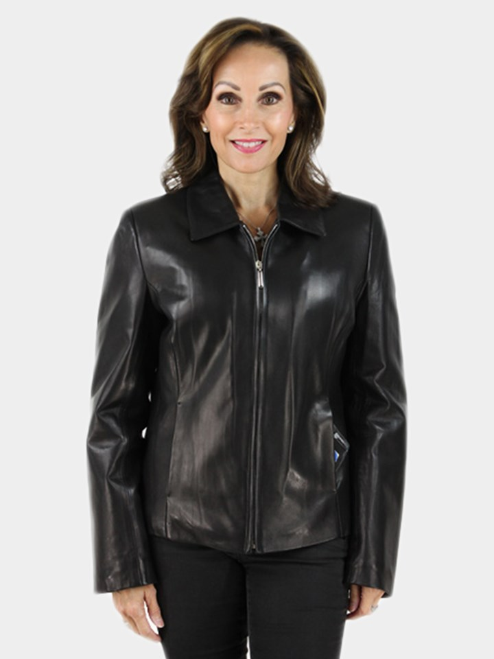 NEW Woman's Black Lamb Leather Jacket