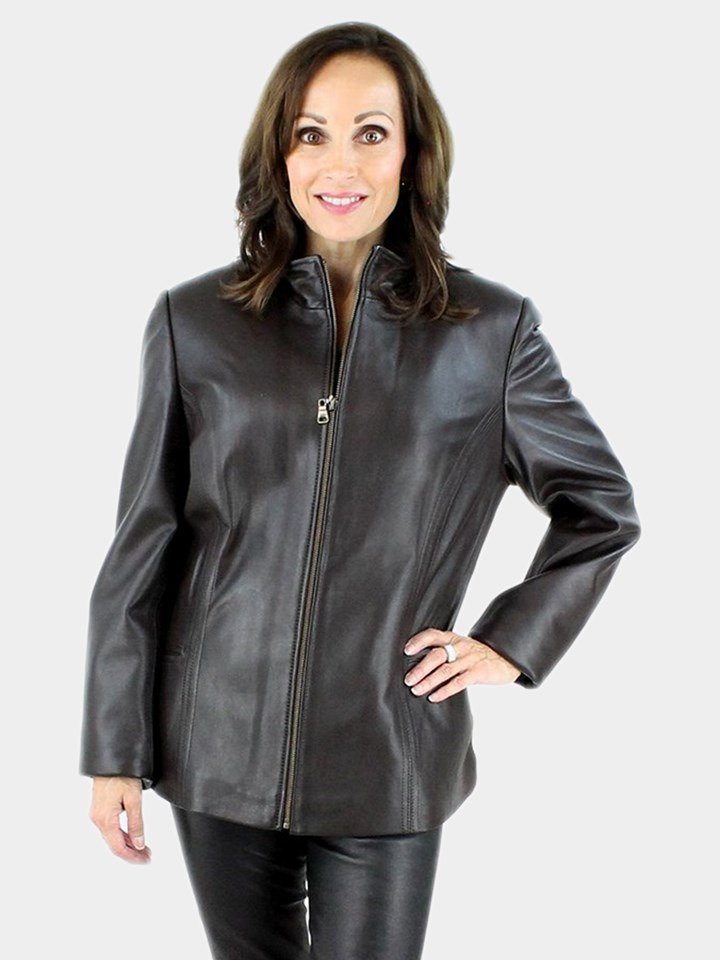 New woman's Brown Leather Jacket