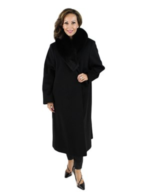 Cashmere Trench Coat with Fox Collar