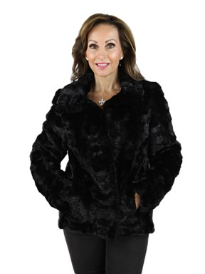 Black Sculptured Mink Fur Jacket