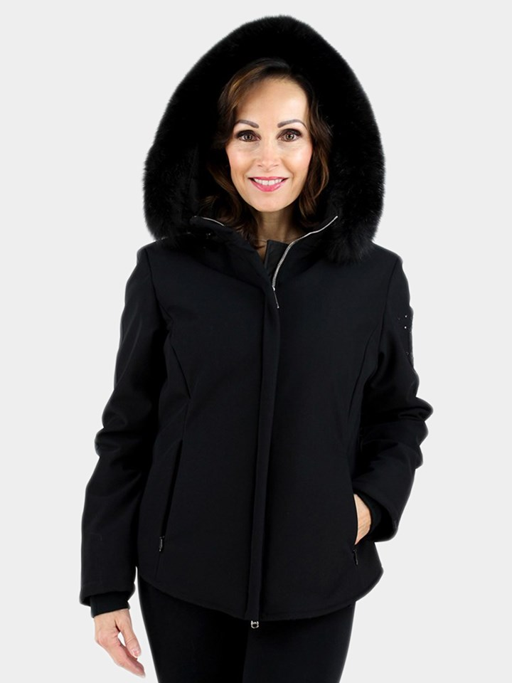 Woman's Black Fabric Ski Jacket with Fox Hood