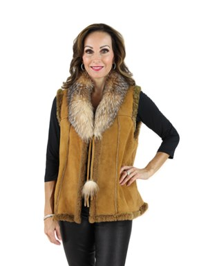 Woman's Camel Shearling Lamb Vest with Fox Collar